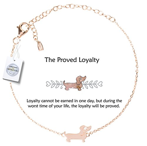 - Vivid&Keith Womens Girls 925 Real Sterling Silver 18K Plated Swarovski Zirconia Cute Adjustable Animal Dog Gift Fashion Jewelry Link Chain Charm Pendant Bangle Bracelet, Dachshund, Rose Gold Plated
