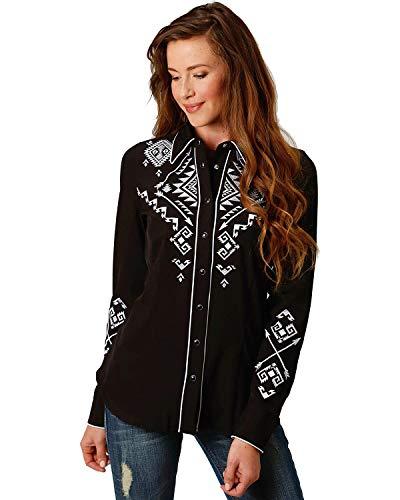 (Roper Women's Retro Embroidery Long Sleeve Western Snap Shirt Black Medium)
