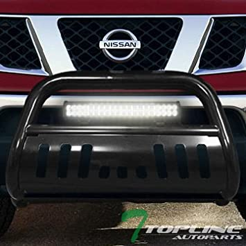 05-15 Xterra Topline Autopart Matte Black AVT Style Aluminum LED Light Bull Bar Brush Push Front Bumper Grill Grille Guard With Skid Plate For 05-19 Nissan Frontier 05-07 Pathfinder