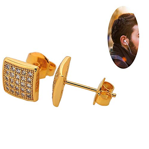 Bala Large 8mm Square 18k Gold Plated Cz Diamond Stud Earrings for Women/men