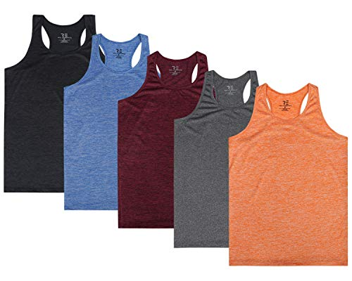 5 Pack:Women's Quick Dry Fit Dri-Fit Ladies Tops Athletic Yoga Workout Running Gym Active wear Exercise Clothes Racerback Sleeveless Flowy Tank Top - Set 2,M