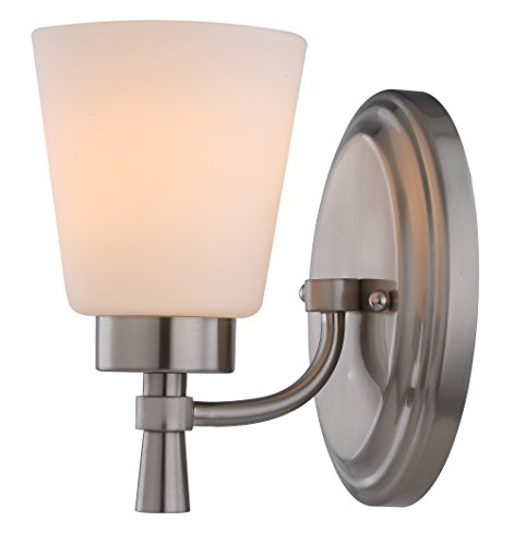 1 Light 3 Light Interior Wall Sconce Indoor Frosted Brushed Nickel Finish With White Opal Glass