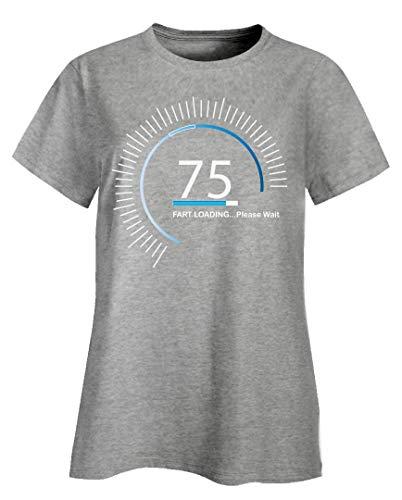 (Funny Fart - 75 Loading Please Wait - Gas Vapor Break Wind Flatulence Humor - Ladies T-Shirt Ash Grey)