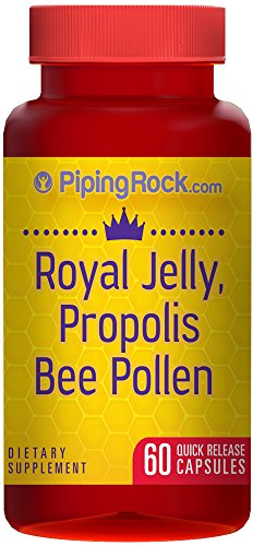 Piping Rock Royal Jelly, Propolis & Bee Pollen 60 Quick Release Capsules Dietary Supplement
