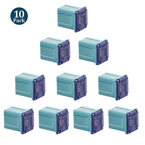 - 10 Pack FMX-20LP 20 Amp Low Profile Female Maxi Fuse, Blue, 32Vdc Fit for Ford Chevy/GM Nissan and Toyota Pickup Trucks Cars and SUVs