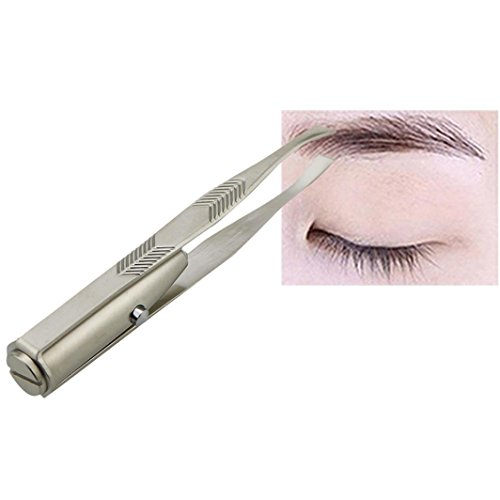 Putars Portable Multifunction Fashion Eyelash Eyebrow Hair Removal Tweezer Remover Creative Makeup Tool with LED Light Silver