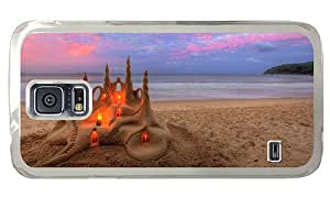 Hipster carrying Samsung Galaxy S5 Cases beach sandcastle PC Transparent for Samsung S5
