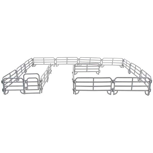 TOYMANY 18PCS Corral Fencing Panel Accessories Playset Includes 2 Gates Fences, Plastic Fence Toys for Barn Paddock Horse Stable or Farm Animals Horses Figurines, Gift Cake Toppers for Kids Toddlers