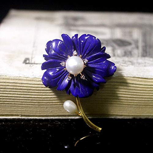THTHT Brooch Pendant Dual-Use Shell Flower Women's Accessories Lapis Lazuli Carving Flower Handmade Corsage Vintage Exquisite High-End Jewelry Luxury