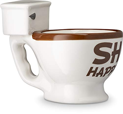 Decodyne Toilet Shaped Funny Coffee Mug - With Hidden Poop Inside - Great funny gifts for men and women, 10 Ounce Capacity