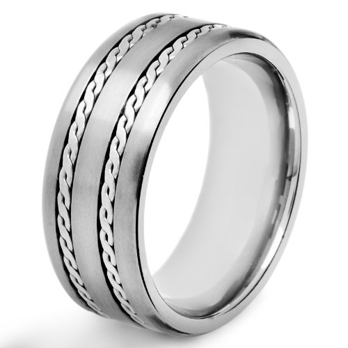 Crucible Titanium Satin Finish Ring with Dual Rope Inlay - Size 10