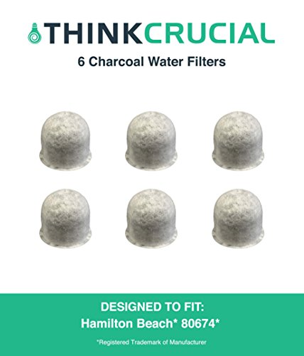 6 Hamilton Beach Charcoal Water Filters, Compare to Part # 80674, Designed & Engineered by Crucial Coffee by Crucial Coffee