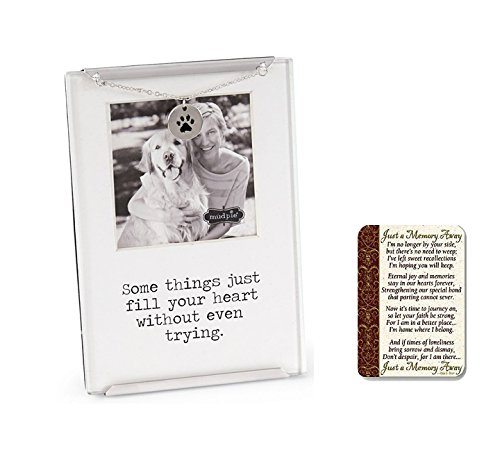 Mud Pie Memorial Pet Clip Frame, with Just a Memory Away Card | Pet Loss Gift Set Mixed