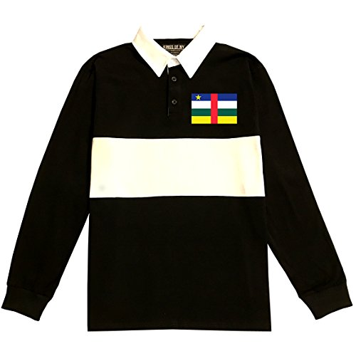 Central African Republic Flag Country Chest Long Sleeve Polo Rugby Shirt Medium Black - 508 Rugby