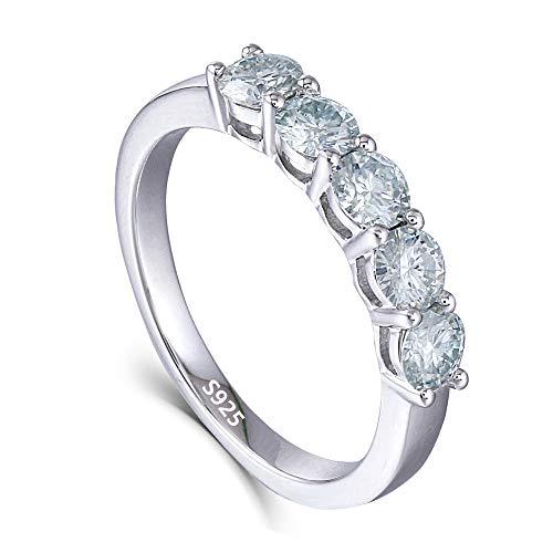 Moissanite Platinum Eternity Ring Band - DOVEGGS Platinum Plated Silver 1.25CTW 4mm Blue Tinted Moissanite Half Eternity Anniversary Wedding Band Ring for Women(7.5)