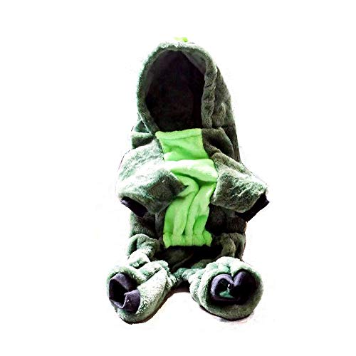 XSPets Hooded Flannel Green Dinosaur pet Winter Sweater Hoodie Sweatshirt for Small Medium Large Cats Dogs Rabbits Soft…