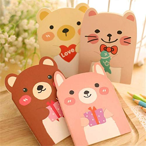 (LOSOUL 1PC Bear Notebook Student Cute Small Book Creative Stationery Office Supplies Notepad)