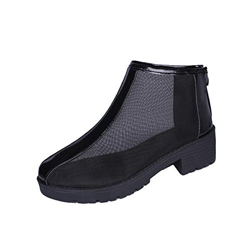 Moonker Fashion Women High Heels Breathable Mesh Sandals Casual Back Zipper Ladies Shoes Black