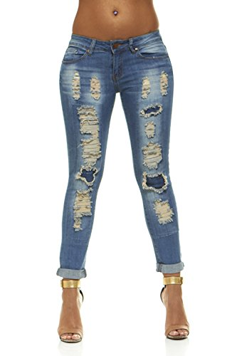 V.I.P.JEANS Plus Size Jeans For Women Distressed Skinny Ripped Patched Jeans Junior and Plus Sizes – DiZiSports Store