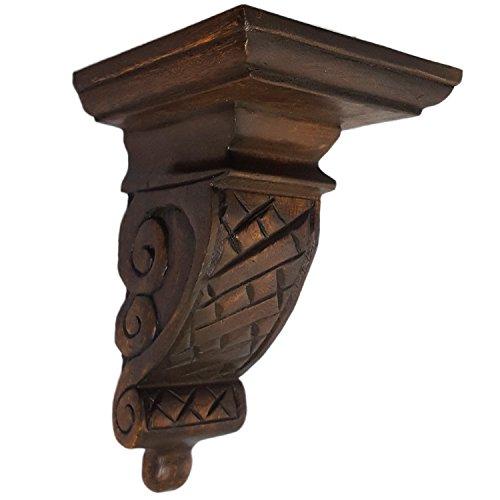 CinMin Hand-Carved Corbel Wood Wall Bracket/Floating Shelf, 10 Inch (Suffolk Oak Brown)