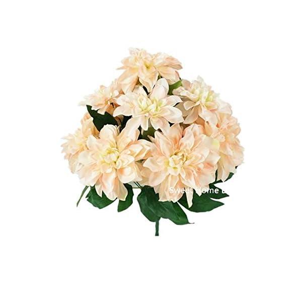 "Sweet Home Deco 18"" Supper Soft Silk Dahlia Artificial Flower Bouquet for Spring Summer Home/Wedding 10 Big Flower Heads (Cream/Pink)"