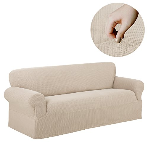 Maytex Reeves Stretch 1 Piece Sofa Furniture Cover Slipcover, Natural White