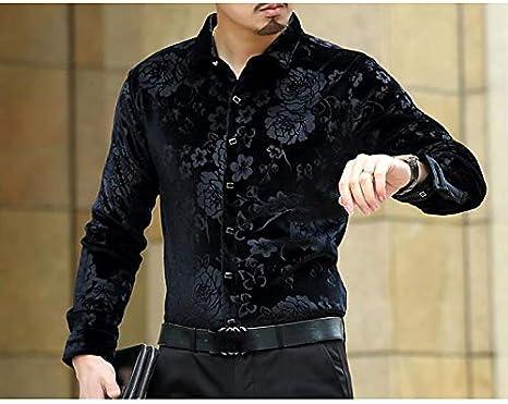IYFBXl Camisa de Fiesta para Hombres - Floral Jacquard Classic Collar, Negro, XXL: Amazon.es: Deportes y aire libre