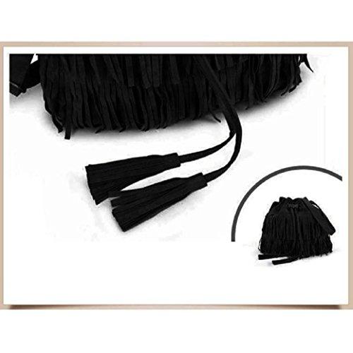 Noir Mode Fami Drawstring bandoulière Tassel féminine à Nouveau Sacs Casual 5Z4rZzWq