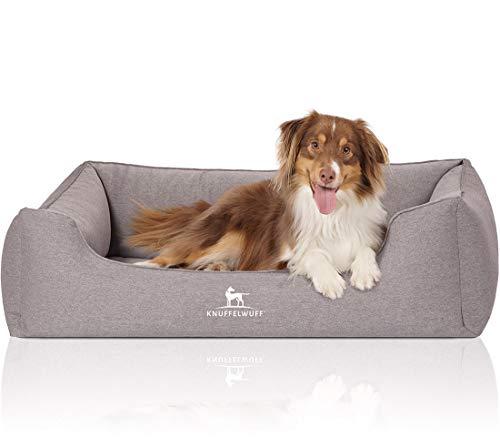 Knuffelwuff Orthopädisches Hundebett Leano Hundekorb Hundesofa Hundekissen Hundekörbchen waschbar Grau XL 105 x 75cm