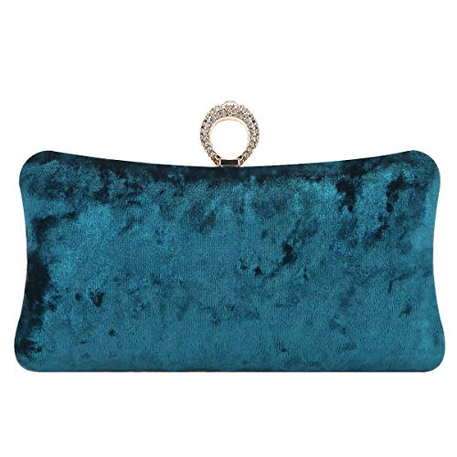 Fawziya Knuckle Clutch Purse Rhinestone Velvet Evening Bags For Women-Emerald Green