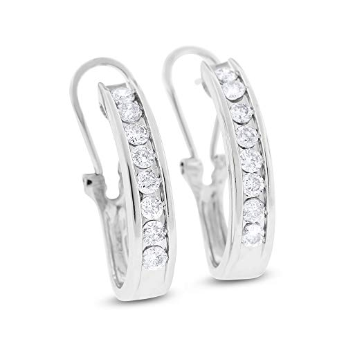 0.75 Ct. Natural Diamond Huggies Earrings Channel Set in Solid 14k White Gold