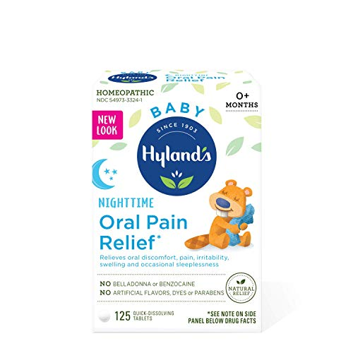 41BO3tNKtWL Hyland's Baby Nighttime Oral Pain Relief Tablets with Chamomilla, Soothing Natural Relief of Oral Discomfort, Irritability, and Swelling 125 Count    EASY TO USE: Easy to administer, quick-dissolving tablets melt in your baby's mouth instantlySAFE AND RELIABLE: Homeopathy is a safe system of medicine with fundamental principles for selection and application, working to stimulate the body's own healing properties. Homeopathic preparations (6X, 30X, 30C) dilute and invigorate the source ingredient making doses non-toxic and safe to take alongside other medications without contraindications or known side effects. Always read and follow the label directions when using Hyland's products.FDA REGULATED MANUFACTURING: Hyland's products follow the manufacturing and quality requirements outlined in the Homeopathic Pharmacopoeia of the United States and the applicable provisions of the Code of Federal Regulations. Hyland's facilities are regulated and inspected by the FDA. Hyland's facilities use the most up-to-date equipment and environment to assure purity and quality.TRUSTED BY GENERATIONS OF MOMS: for over a century, we have stood as a leader in innovations that answer to the changing health needs of our modern worldNATURAL REMEDIES SINCE 1903: Hyland's has been producing homeopathic medicines since 1903. Hyland's products are made in the United States with natural ingredients, and contain no artificial flavors, dyes or parabens.