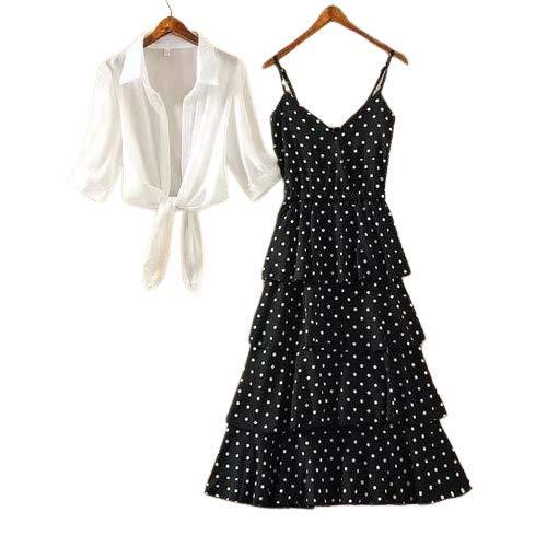 Fashion4U Women's Stylish Fashionable Polka Print Straps Long Dress with White Shrug – Black