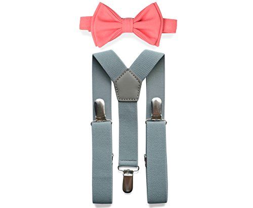 Light Grey Suspenders Bow Tie Set for Baby Toddler Boy Teen Men (2. Toddler (18 mo - 6 yrs), Light Grey Suspenders, Bright Coral Bow Tie)