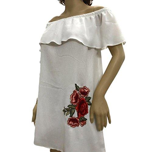 Ouneed® Femme Ete Epaule Nu Hauts Mode Broderie Borde Blouse Rose