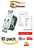 WG Collection High Speed Dual Vertical USB Charger Outlet 20A 125V 5V DC 4.0 A TR Receptacle for Home, Office and Warehouse use for Iphones and Androids with Free Wallplates 10 Pack