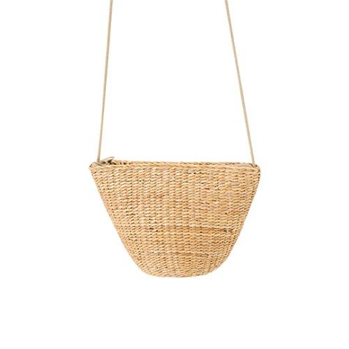 Straw Bags Women Female Bag Lady Mini Summer Beach Casual Handmade Messenger Bag Crossbody Travel Weave Yellow