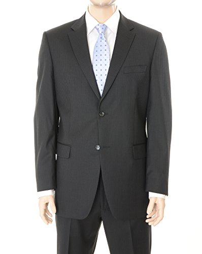 Jones New York Regular Fit Black Pinstriped Two Button Worsted Wool (Black Worsted Wool Suit)