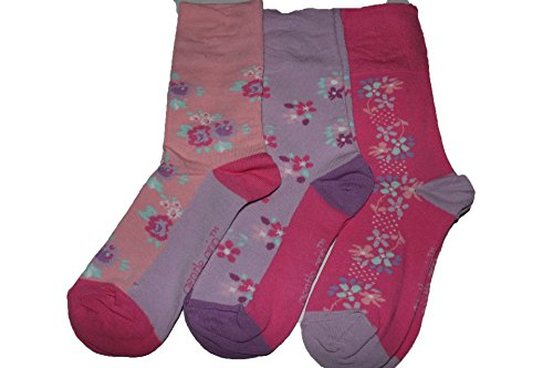 3 prs Sock shop Gentle grip lds socks.Flowers 07 for sale