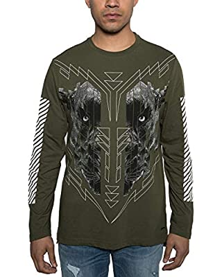 Sean John Men's Cheetah Graphic Long Sleeve T-Shirt. Cheetah