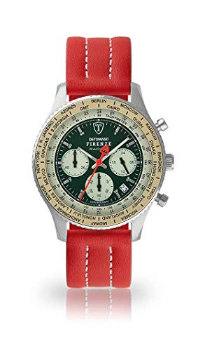 DETOMASO Firenze Mens Watch Analog Chronograph Quartz red Leather Strap Green dial DT1069-B-893