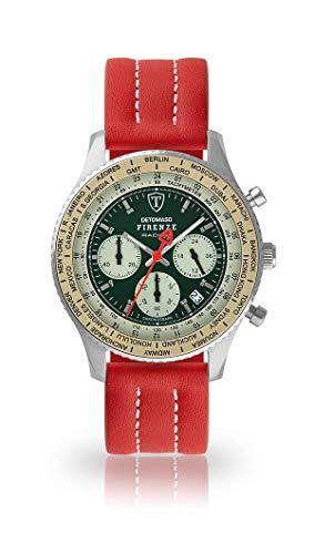 DETOMASO Firenze Mens Watch Analog Chronograph Quartz red Leather Strap Green dial DT1069-B-893