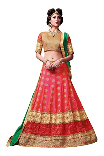 Da Facioun Womens Silk Fabric Pink Pretty Circular Lehenga Style 84037