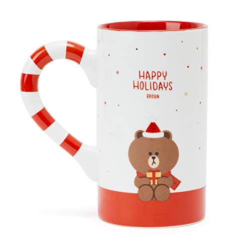 LINE FRIENDS Ceramic Coffee Mug - BROWN Character Cute Tall Hot Tea Cups for Women and Men (Cute Best Friend Lines)