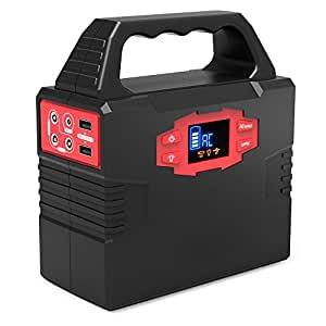 100-Watt Portable Generator Power Inverter, CXCase 40800mAh CPAP Battery Pack Home Camping Emergency Power Supply Charged by Solar Panel/Wall Outlet/Car with Dual 110V AC Outlet, 3 DC 12V Ports, U