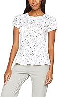 Iris & Lilly Camiseta de Pijama con Estampado y Volante para Mujer, Blanco (White/Grey), X-Large