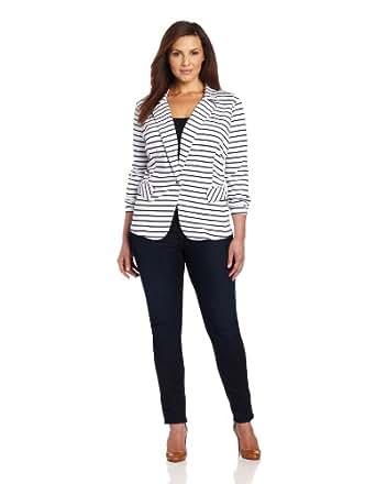 Anne Klein Women's Ponte Stripe Blazer, White/New Marine Multi, 0X