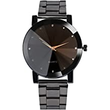Hot Sale! Charberry Mens Convex Steel Band Watch Crystal Stainless Steel Analog Quartz Wrist Watch (Black)