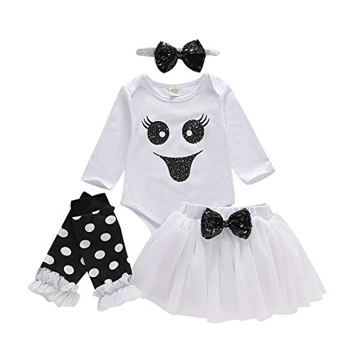 GRNSHTS Baby Girls Halloween Outfits Toddler Ghost Long Sleeve Romper+Tutu Skirt+Bowknot Headband+Leg Warmer 4Pcs Clothes (White, 18-24 Months) (24 Mo Tutu Outfit)