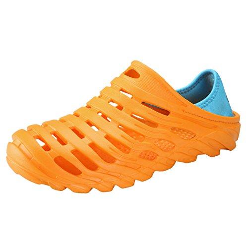 RARKOR Garden Shoes Men's Ultralight Hollow Summer Aqua Breathable Comfort Slippers Outdoor Unisex Water Shoes Orange